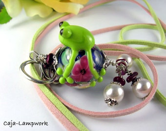 Handmade Lampwork frog on pink flower bead, chain, playful, cheerful