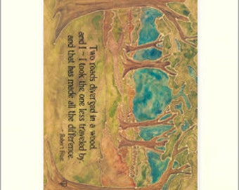 Frost - Two Roads: Matted Giclée Art Print by The Bungalow Craft by Julie Leidel (Arts & Crafts Movement)