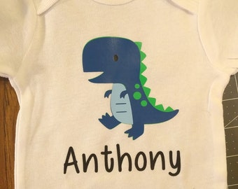Baby Trex dinosaur onesie boy or girl blue or purple, customized Name!