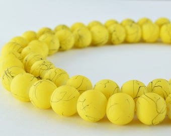 Glass Beads Matte Two Tone Yellow Black Rubber Over Glass Beads Size 10mm Round For Jewelry Making Item#789222045951