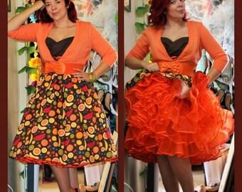 Orange Crinoline Tea Length Retro 1950s Slip Many Colors Petticoat New
