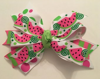 Watermelon Hair Bow Pink and Green Watermelon Bow Polka Dot Watermelon Bow Hot Pink Watermelon Bow Three Layer Watermelon Bow Summer Bow