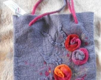 Felt bag, merino wool, gersimifelt handbag,flower