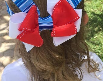 Patriotic hair bow, red white and blue bow, Fourth of July hair bow