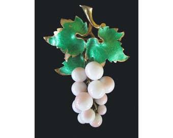 Grape Cluster Pin * Dangle Pin * Enamel * Glass Beads * Fruit Pin * Classic Vintage