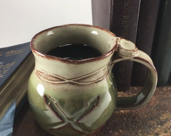 Ceramic Coffee Mug. Large Clay Mug. Coffee Cup. Hand Built Mug. Stoneware Mug. Gift for Coffee Lover. Gift for Her. Gift for Him. Java Mug