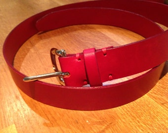 Hand stitched Red Leather Belt