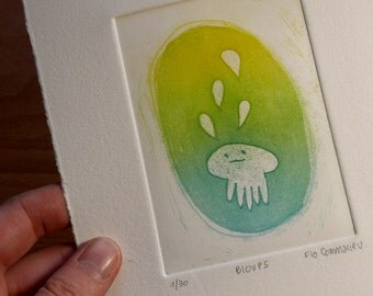 Engraving jellyfish ghost - printing ink turquoise and yellow - fantastic character paper - print etching