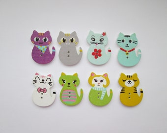 Cats 8 wooden buttons 30 x 20 mm