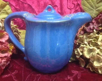 Blue Stoneware Style Ceramic Teapot, Distressed Look Teapot