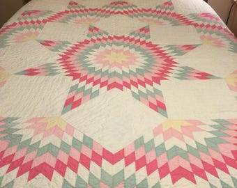 Vintage Star Quilt Hand stitched,hand quilted, pinks, greens, grays and white