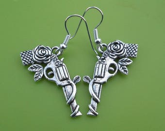 DOUBLE SIDED Guns and Roses Earrings, Guns N Roses Silver Pistol Dangle Earrings, Rock and Roll Jewellery