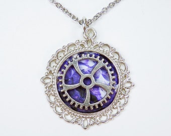 Necklace rack in purple to silver link chain stainless steel steampunk jewelry gears pendant with gear unique white purple