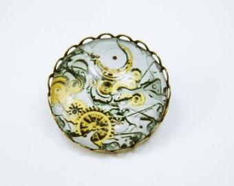 Brooch gears pin bronze brooch with steampunk gears movement motif in grey - yellow gear brooch cabochon