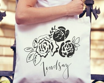 Cute,  Flowers, Personalized Canvas Tote Bag- Large