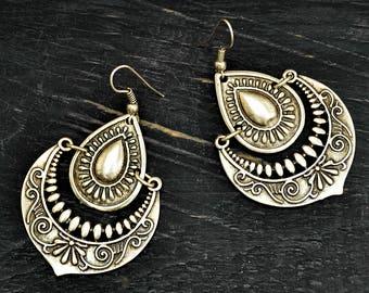 Silver Gyspy Earrings, Silver Drop Earrings, Boho Earrings, Turkish Earrings, Tribal Earrings, Silver Dangle Earrings, Boho Chic Jewelry