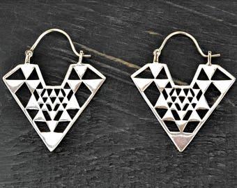 Triangle Earrings, Geometric Earrings, Silver Tribal Earrings, Aztec Earrings, Ethnic Earrings, Silver Earrings, Ethnic Jewelry