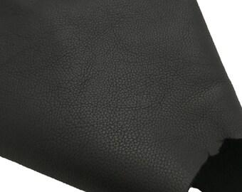 Pebbled Black Leather Scrap / Black Leather Remnant / Black Leather Fabric / Genuine Leather