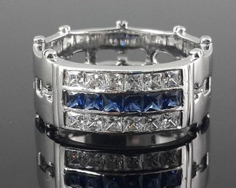10k white  gold and blue CZ wedding band for men