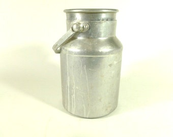 French Vintage Aluminum Milk Jug, Vintage Milk Canister, Milk Jar, Rustic Kitchen Decor