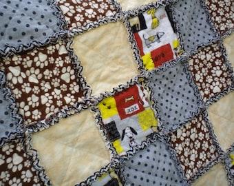 Dog Gone Cute Quilt, Baby Rag Quilt, Crib Blanket, Flannel Rag Quilt, Beige, Gray, Brown, Baby Shower Gift, Gender neutral, Ready to Ship