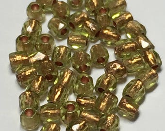 2mm True Two Round fire polish, olive copper lined, 50 beads, FPR0250230-68105