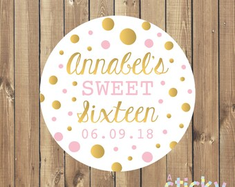 Personalized Sweet Sixteen Stickers, Sweet Sixteen Labels, Sweet 16 Stickers, Quinceanera Stickers, Party Favors, Custom Stickers, Sweet 16