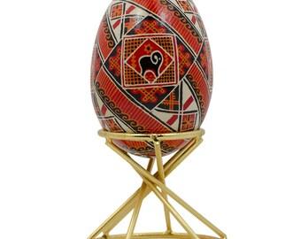 "1.75"" X 2'' Swirl Gold Tone Metal Sphere or Egg Stand Display Holder- SKU # AHC-1003"
