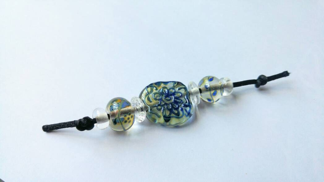 clear and blue silver glass flower lampwork beads sra