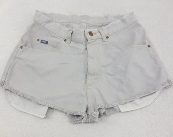 Upcycled Hi Rise High Waist Gray Denim Cut Off Jean Shorts Size 14