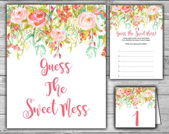 Floral - Pink - Baby Shower - Guess The Sweet Mess - Game - Cards - Sign - Tents - PRINTABLE - INSTANT DOWNLOAD - Diaper Game - 060