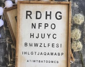 Vintage Eye Chart, Farmhouse, Framed Sign, Wood Sign, Rustic, Distressed, Eye Chart, Industrial Farmhouse, Shabby Farmhouse, Wooden Sign