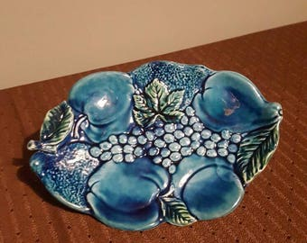 Giftcraft Inarco Mood Indigo Blue Fruit Plate made in Japan