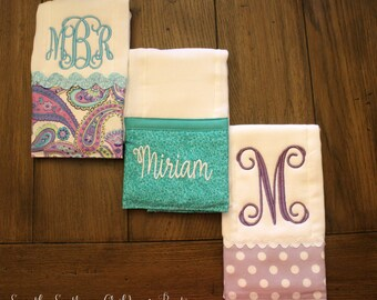 Baby girl burp cloth trio personalized- custom newborn girl burp cloth set- baby girl shower gift