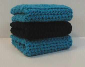 "Handmade Crochet Cotton Washcloths or Dishcloths 3-Pk, 1-Black, 2-Medium Blue, 7-1/2""  (#5767)"
