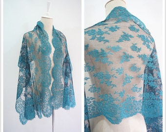 Floral aqua green LACE wedding shawl.Vintage high quality rococo women party wrap.Wedding gift idea.Free shipping.P611569