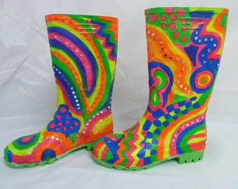 UV reactive wellie boots