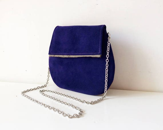 clutch leather bag cobalt blue clutch handbag handmade suede