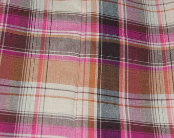 Pink, brown and white tartan fabric/Quilting fabric/1005 cotton/ HIGH QUALITY