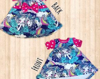 Super Cute Unicorn Raspberry Polka Dot Party Dress 9-12m Bow Detail on Reverse