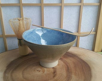 Green and light blue chawan set, teabowl for the Japanese tea ceremony with bamboo whisk and spoon
