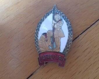 Communist Boy Scout Badge Pioneer naturalist enameled badge