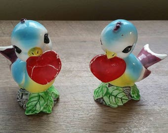 Vintage Bluebird with Hearts Salt and Pepper Shaker Set