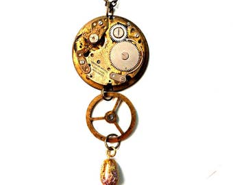 Steampunk vintage watch movement pendant bronze