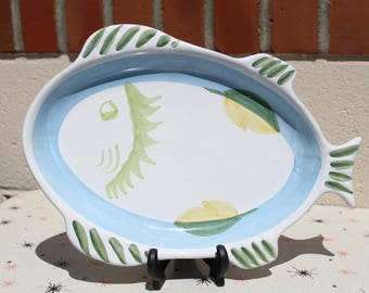 Vintage Caleca Fish Serving Platter Plate Made in Italy