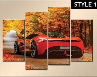 Aston Martin Super Car 4 panel canvas