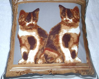 Seeing Double ! very pretty Tortoiseshell and white kittens cushion