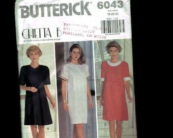 Sewing Pattern Butterick 6043 - size 18 - size 20 - size 22 - Easy dress pattern - simple dress pattern - easy to sew - short dress pattern