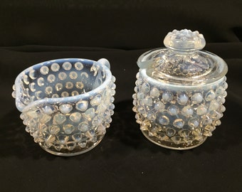 Fenton Hobnail Moodstone/French Opalescent Creamer and Jam Jar with Lid.