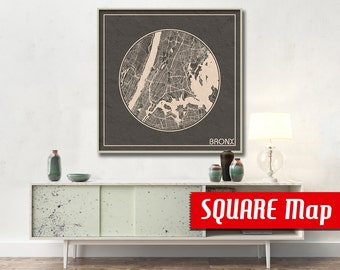 BRONX NY SQUARE Map Bronx New York Poster City Map Bronx New York Art Print Bronx New York poster Bronx map